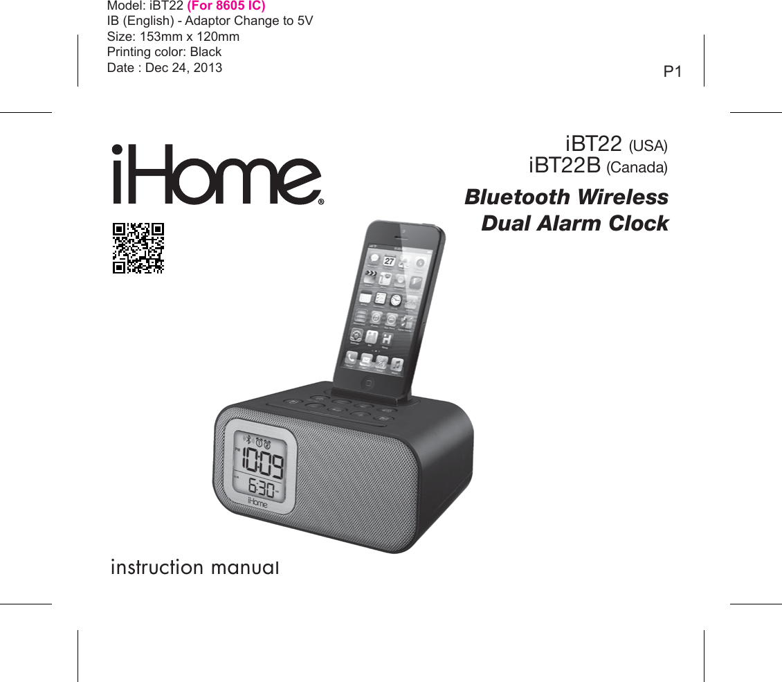 manual for ihome clock radio model ibt38