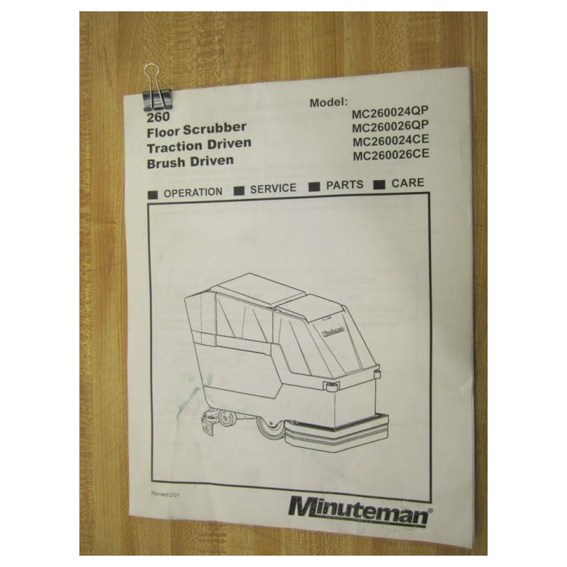operations manual for scrubber model 261990